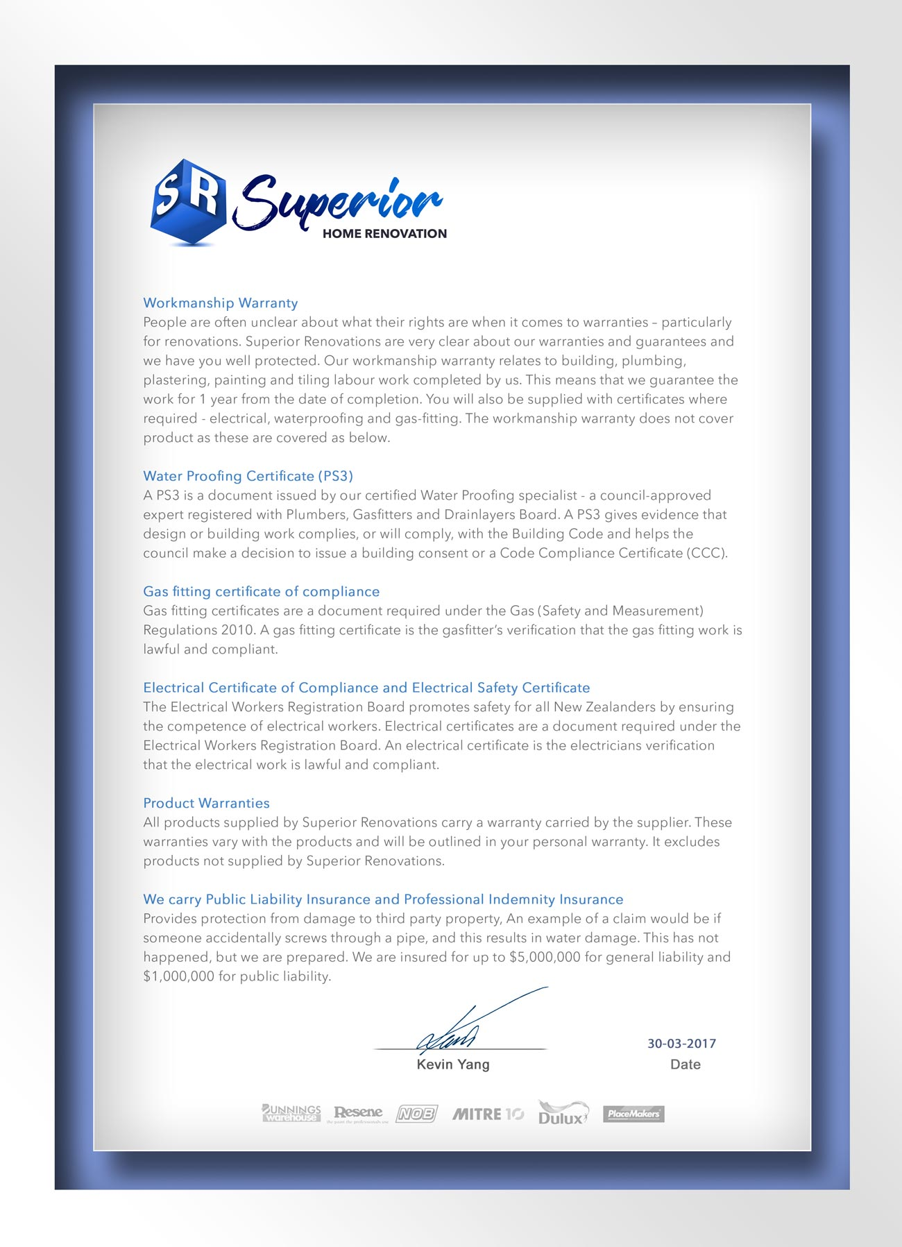 Home Renovation Guarantee for your peace of mind - Superior